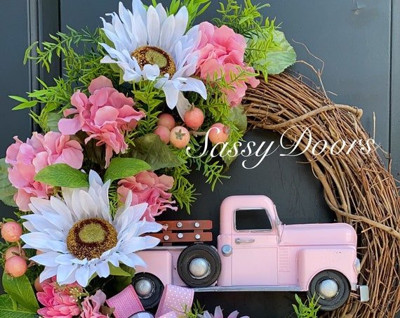 Truck Wreath, Sunflower Wreath, Hydrangeas Wreath, Pink Truck Wreath,