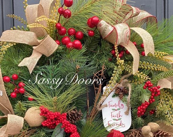 Farmhouse Christmas Wreath, Buffalo Plaid Christmas Wreath, Rustic Christmas Wreath, Woodland Christmas Wreath SassyDoors Wreath,
