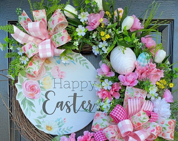 Spring Wreath, Easter Egg Wreath, Spring Wreath For Front Door, Grapevine Wreath, Easter Tulip Wreath