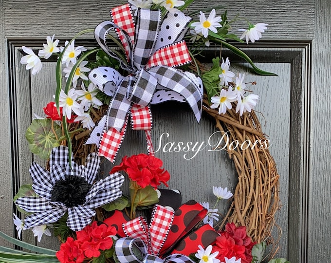 Summer Wreath, Welcome Wreath, Geranium Wreath, SassyDoors Wreath,