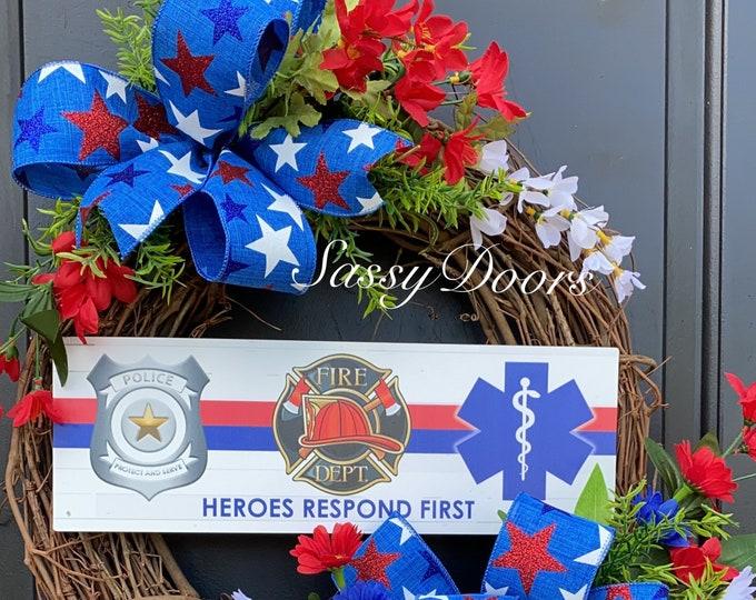 Public Servant Wreath, First Responders Wreath, Firefighters Wreath, Law Enforcement Wreath , EMS Wreath, Sassy Doors Wreath