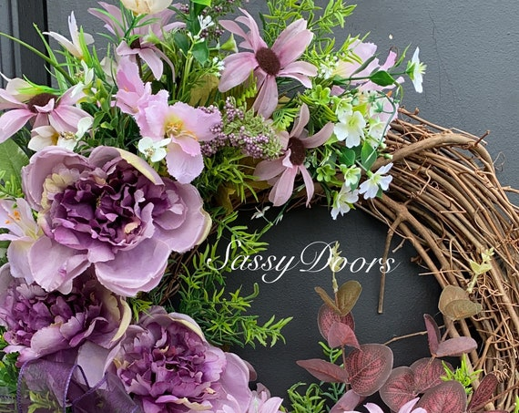 Spring and Summer Wreaths, Peonies Wreath, Wreath For Front Door, Welcome Wreath, Front Door Wreath,