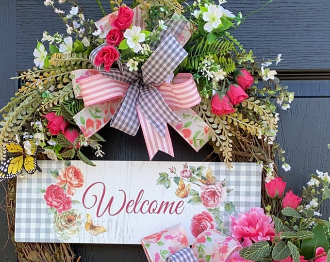 Spring And Summer Wreath- Peony Wreath, Spring And Summer Front Door Wreath, Sassy Doors Wreath