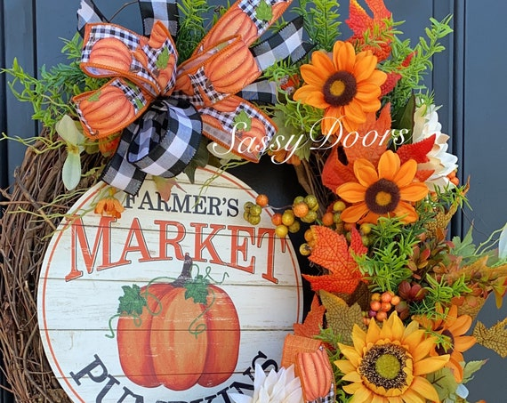 Fall Wreath, Sunflower Wreath, Pumpkin Wreath, Fall Front Door Wreath, Fall Grapevine Wreath, Thanksgiving Wreath, Sassy Doors Wreaths