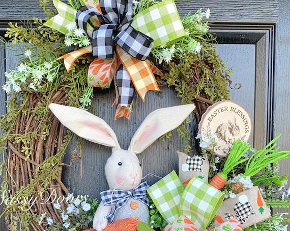 Easter Wreaths, Buffalo Plaid Easter Bunny, Easter Bunny Wreaths, Farmhouse Bunny, Wreaths For Front Door, Sassy Doors Wreath