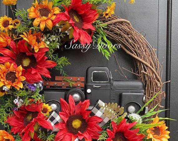 Fall Truck Wreath- Truck Wreath - Farmhouse Truck Wreath- Wreath With Truck, Vintage Truck Decor,  SassyDoors Wreath,