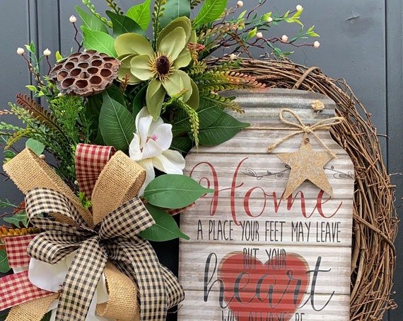 Farmhouse Wreath, Everyday Wreath, Primitive Wreath, Farmhouse Wreath For Front Door, SassyDoors Wreath
