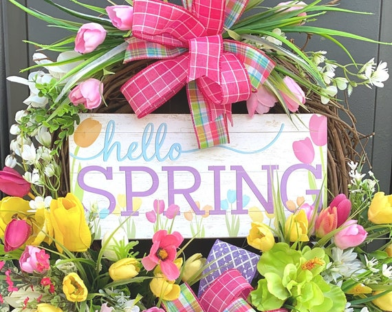 Spring Wreath, Spring Wreath For Front Door, Grapevine Wreath, Tulip Wreath