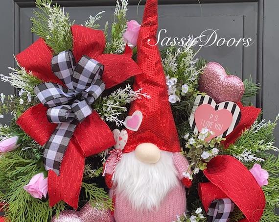 Valentines Wreath, Red Hearts Valentine Door Wreath, Gnome Wreath, Wreath With Hearts, Sassy Doors Wreath