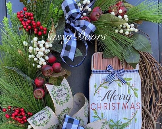 Woodland Christmas Wreath, Farmhouse Christmas Wreath,Christmas Wreath, Front Door Wreath,