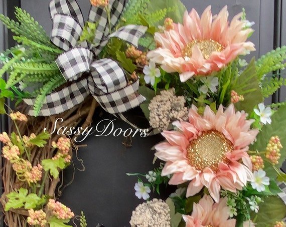 Pink Sunflower Wreath,  Front Door Wreath- Sunflower Door Wreath- Sassy Doors Wreath-Door Wreaths
