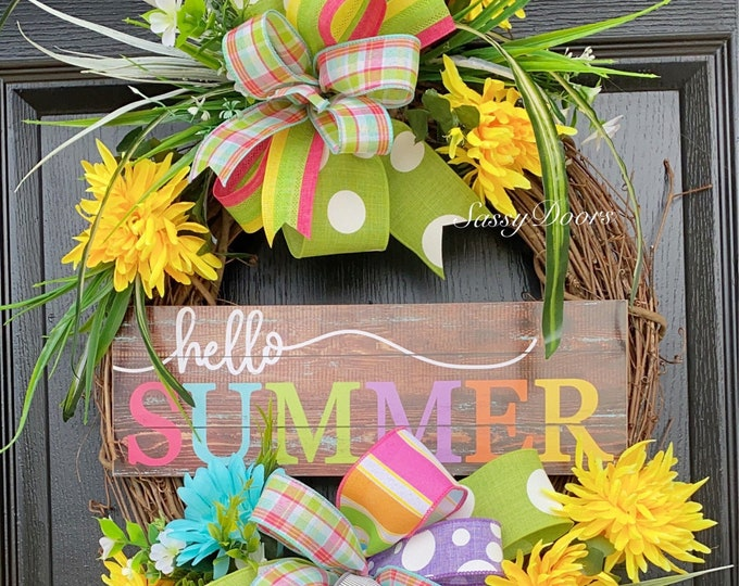 SummerWreath, Summer Wreaths Grapevine Wreath, Sassy Doors Wreath, FrontDoorWreath, Summer Wreaths