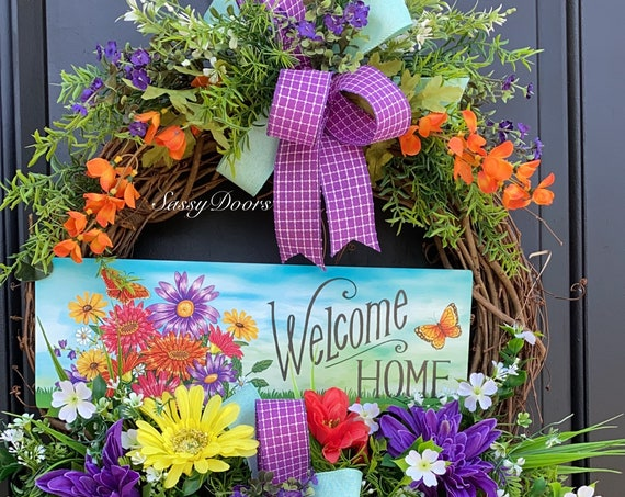 Summer Wreath, Flower Garden Wreath, Butterfly Wreath, Front Door Wreath, Sassy Doors Wreath, Summer Grapevine Wreath