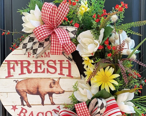 Farmhouse Wreath- Wreath For Front Door- Wreath With Pig, Everyday Wreath- Farm Wreath