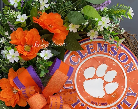Clemson Wreath, Clemson University, Clemson Football,  Clemson College Wreath, Clemson Tigers, Sports Wreath