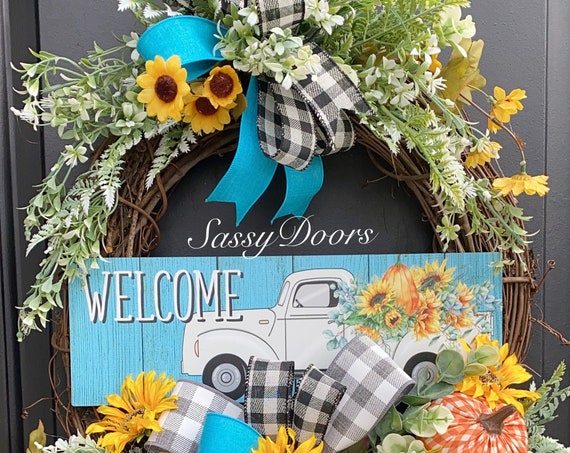 Fall Truck Wreath- Farmhouse Wreath-Fall Truck Front Door Wreath- Farmhouse Wreath- Sunflower Wreath- Sassy Doors Wreath