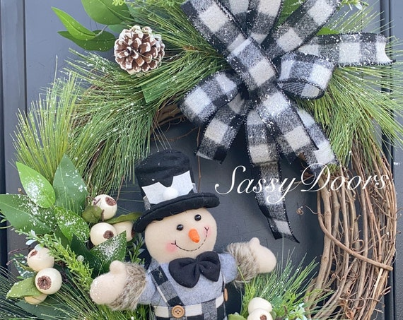 Snowman Wreath, Christmas Wreath For Front Door, Buffalo Plaid Christmas Wreath, Sassy Doors Wreath