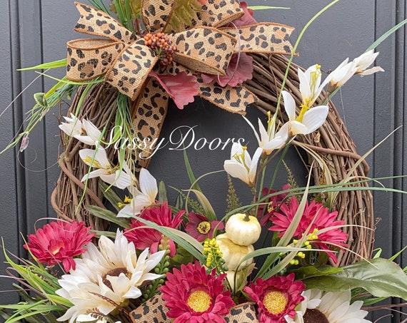 Fall Wreath, Fall Front Door Wreath-Wreath, Pumpkin Wreath- SassyDoors Wreath