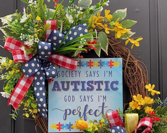 Autism-Autism Awareness-AutismWreath-AutismGift-Awarness Wreath