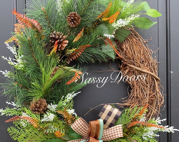 Winter Wreath, Woodland  Wreath, Winter Pines Wreath, Winter Sassy Doors Wreath,
