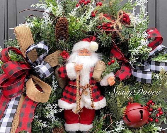 Santa Christmas Wreath, Santa Wreath, Buffalo  Christmas Wreath, Christmas Front Door Wreath, Woodland Christmas Wreath, Sassy Doors Wreath,