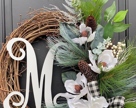 Winter Wreath, Winter Monogram Wreath, Magnolia Wreath, Wreath for front door, Sassy Doors Wreath, Monogram Wreath