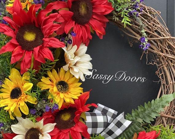 Sunflower Wreath, Home Sweet Home Wreath, Gingham Plaid Wreath, Magnolia Wreath, Front Porch Idea