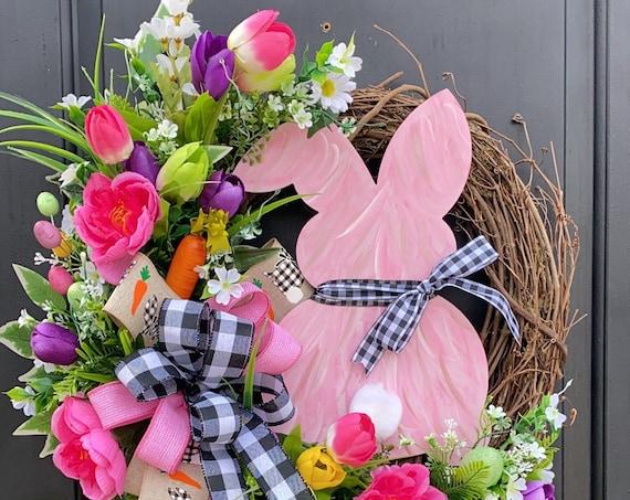 Easter Bunny Wreath, Buffalo Plaid Easter Wreath, Bunny Wreath