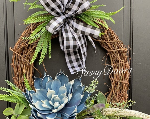 Everyday Wreath, Transitional Wreath, Blue Wreath, SassyDoors Wreath,