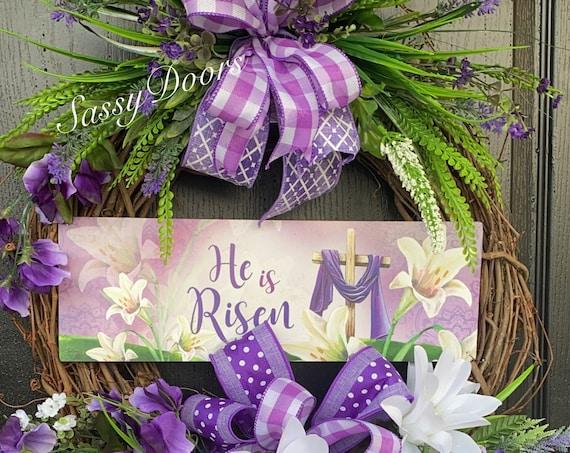 Easter Wreaths, Easter Religious  Wreaths, Spring Wreaths For Front Door, He Is Risen Wreath, Sassy Doors Wreath