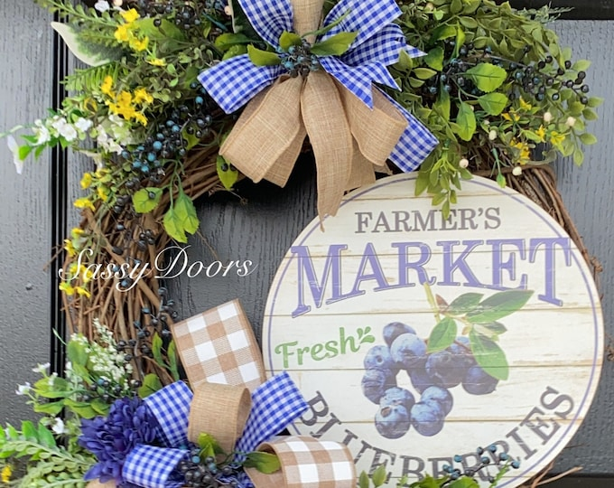 Summer Wreaths, Blueberries Wreath, Summer Farmhouse Wreath, Grapevine Wreath, SassyDoors Wreath,