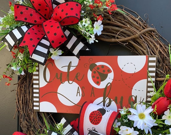 Lady Bug Wreath , Farmhouse Decor, SummerWreath, Sunflower Wreath,Sassy Doors Wreath,Grapevine Wreath, Front Door Wreath, Welcome Wreath