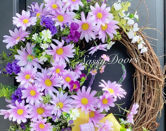 Summer Wreath, Daisy Wreath, Summer Grapevine Wreath, Sassy Doors Wreath,