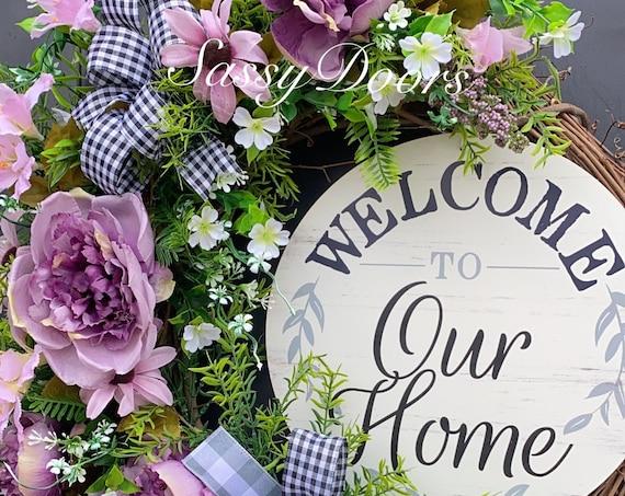Peonies Wreath, Wreath For Front Door, Welcome Wreath, Transitional Wreaths,