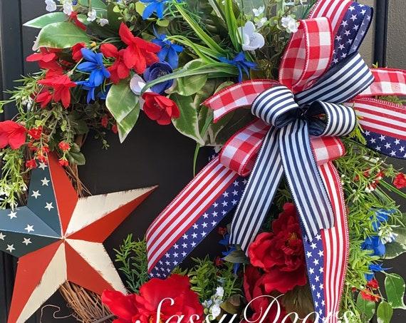 Patriotic Wreath, USA Wreath, July 4th Summer Wreath, Wreath, Sassy Doors Wreath, Memorial Day Wreaths