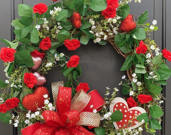 Valentines Wreath, Valentine Door Wreath, Red Heart Wreath, Wreath With Hearts, Sassy Doors Wreath