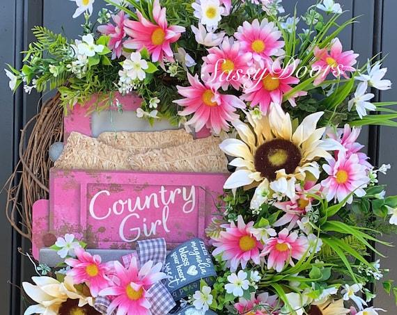 Truck Wreath Spring And Summer Door Wreath, Daisy Wreath, Pink Truck Wreath, Sassy Doors Wreath-Front Door Wreath