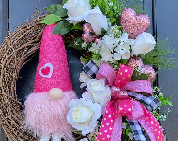 Valentines Wreath, Gnome Valentine Door Wreath, Red Heart Wreath, Wreath With Hearts, Sassy Doors Wreath