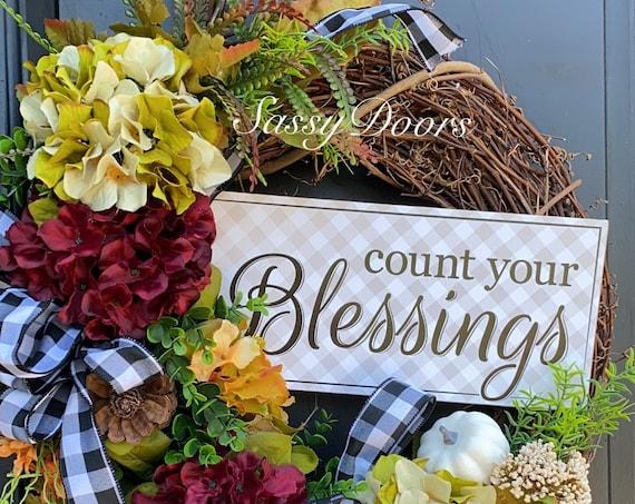 Fall Wreath- Hydrangea Wreath-Pumpkin Wreath- Grapevine Fall Wreath- Sassy Doors Wreath- Autumn Wreath-Thanksgiving Wreath