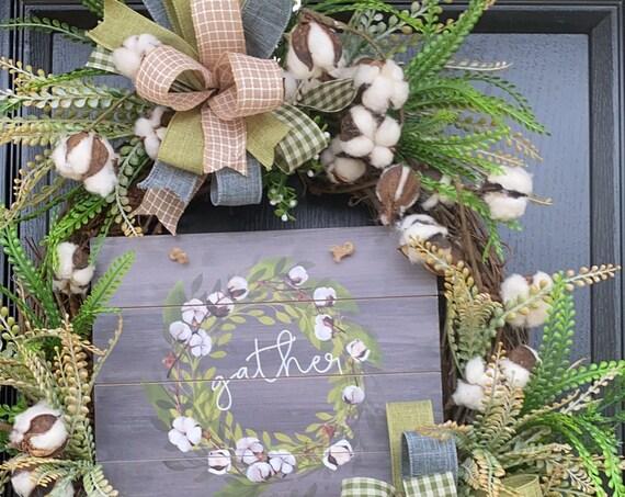 Cotton Wreath, Farmhouse Door Wreath, Everyday Wreath, Wreath With Cotton, Magnolia Wreath