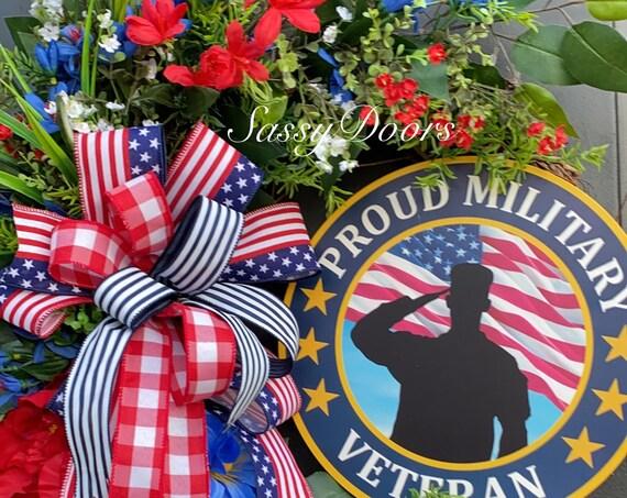 Military Veterans Wreath, Patriotic Wreath, Memorial Day Wreath, Veterans Day Wreath, Military Wreath