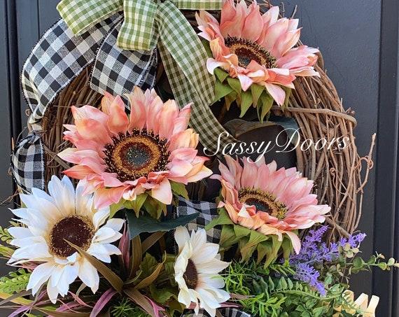 Coastal Wreath, Sunflower Coastal Wreath,  Front Door Wreath- Sunflower Door Wreath- Sassy Doors Wreath- Summer Door Wreaths