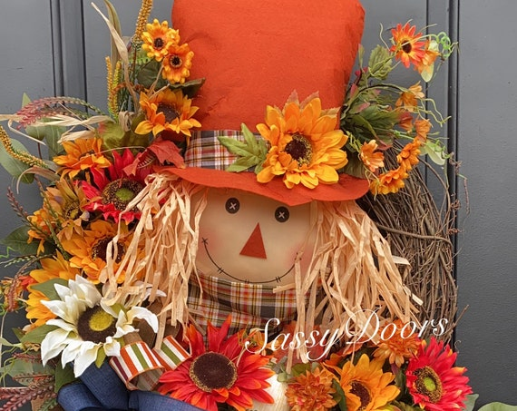 Fall Wreath, Scarecrow Wreath, Fall Pumpkin Wreath, Autumn Wreath, Sunflower Wreath, SassyDoors Wreaths, Farmhouse Wreath