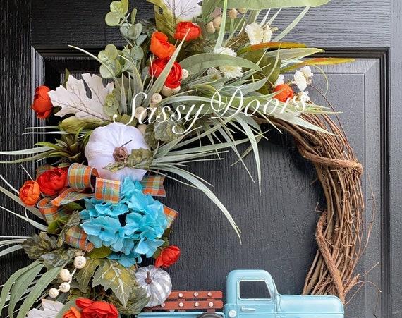Fall Truck Wreath, Coastal Fall Wreath,- Truck Wreaths, Front DoorWreath, Sassy Doors Wreaths
