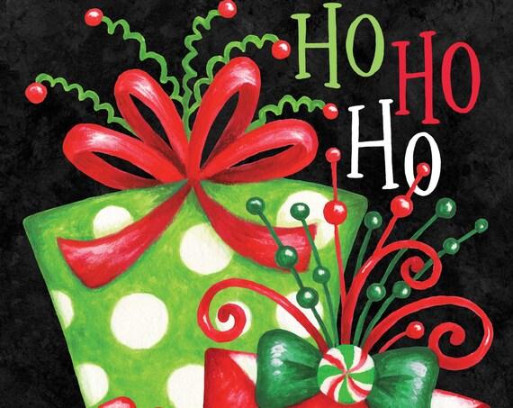 Ho-HO-Ho Christmas Flag, Gift Flag, Garden Flag, Christmas Garden Flag.
