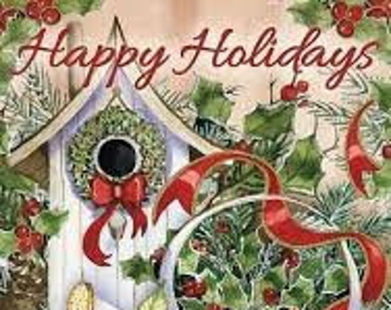 Holiday House Flag, Happy Holidays Flag, Christmas House Flag, Birdhouse Holiday Flag, Sassy Doors