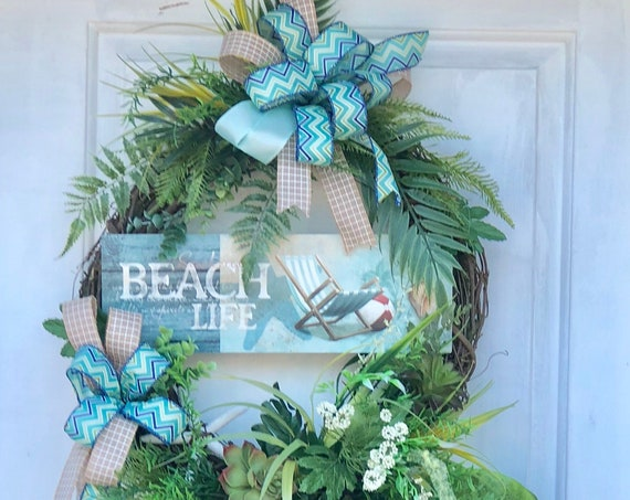 Coastal Wreath, Summer Wreaths,Beach Life Wreath, Beach Wreath For Front Door, Sassy Doors Wreath, Nautical Wreath, Succulent Wreath
