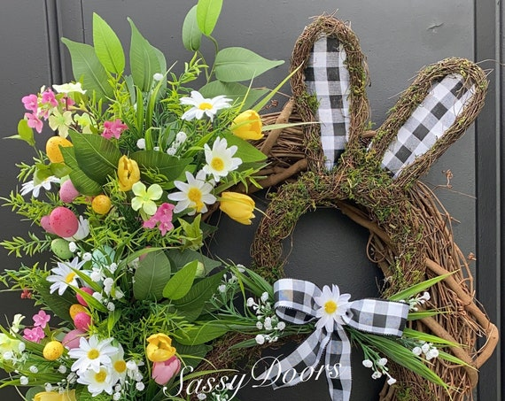 Easter Wreath, Easter Bunny Wreath, Spring Wreath, Grapevine Wreath,Sassy Doors Wreaths, Easter Weearh With Bunny, Buffalo Plaid
