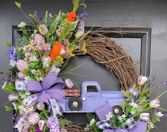 Easter Truck Wreath , Easter Wreath, Easter Egg Wreath, Easter Egg Wreath,  Sassy Door Wreath,