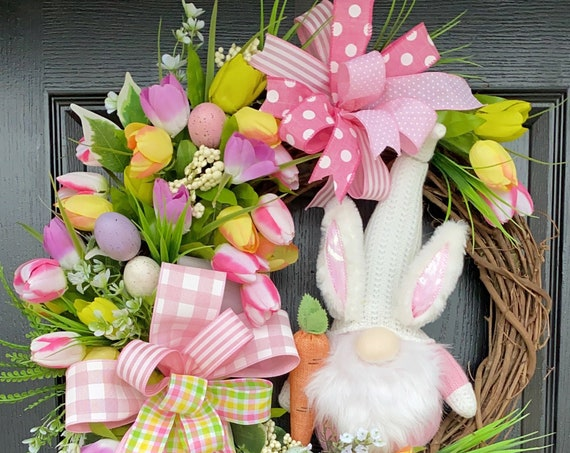 Gnome Easter Wreaths, Easter Gnome, Easter Tulip Wreaths, Tulip Gnome Wreaths For Front Door, Sassy Doors Wreath